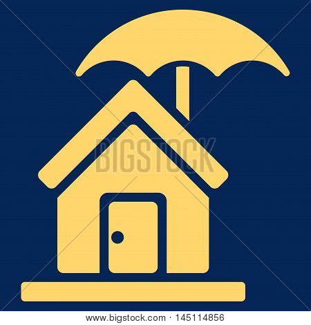 House under Umbrella icon. Vector style is flat iconic symbol, yellow color, blue background.