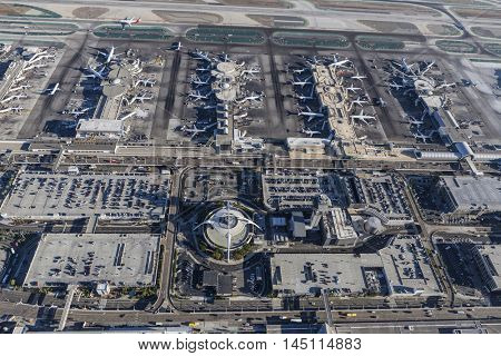 Los Angeles, California, USA - August 16, 2016:  Aerial view of terminals and parking garages at LAX.