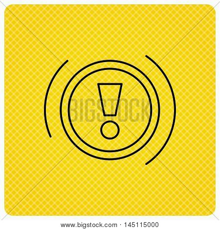 Warning icon. Dashboard attention sign. Caution exclamation mark symbol. Linear icon on orange background. Vector