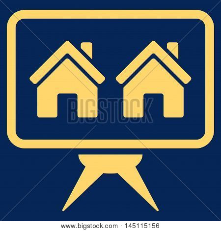 Realty Project icon. Vector style is flat iconic symbol, yellow color, blue background.