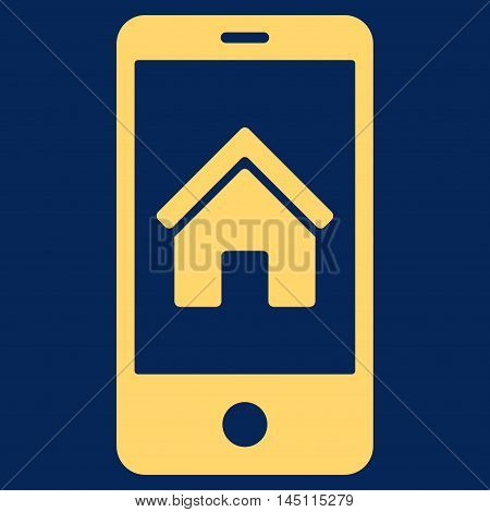 Smartphone Homepage icon. Vector style is flat iconic symbol, yellow color, blue background.