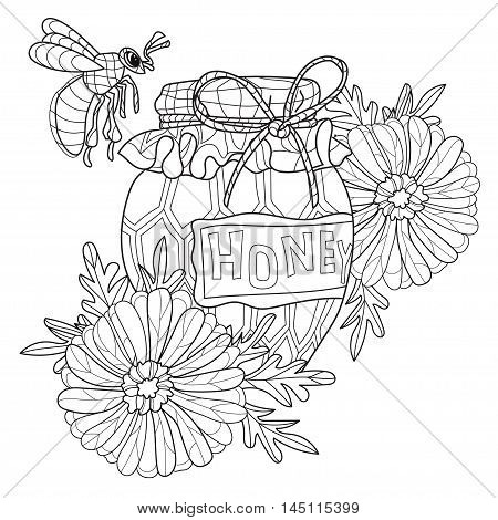 Honey pot doodle and bee with flowers.Hand drawn vector illustration. Sketch for tattoo adult coloring anti stress book. Insect collection boho style.