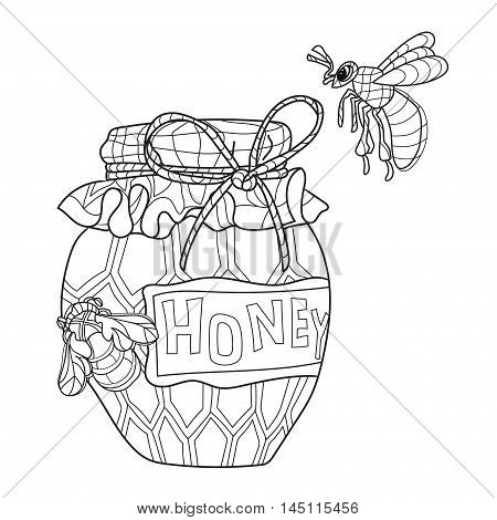 Honey pot doodle and bees.Hand drawn vector illustration. Sketch for tattoo adult coloring anti stress book. Insect collection boho style.