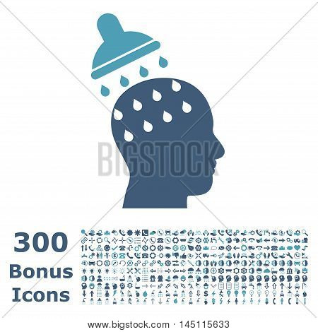 Brain Washing icon with 300 bonus icons. Glyph illustration style is flat iconic bicolor symbols, cyan and blue colors, white background.