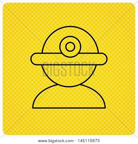 Worker icon. Engineering helmet sign. Linear icon on orange background. Vector