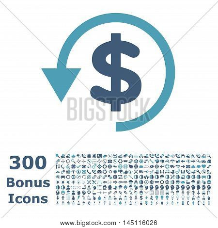 Chargeback icon with 300 bonus icons. Glyph illustration style is flat iconic bicolor symbols, cyan and blue colors, white background.