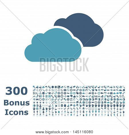 Clouds icon with 300 bonus icons. Glyph illustration style is flat iconic bicolor symbols, cyan and blue colors, white background.