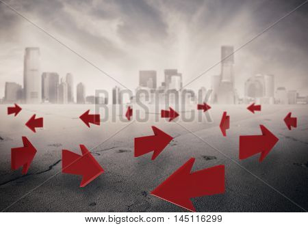 3D Rendering of arrows on asphalt with a cityscape on background