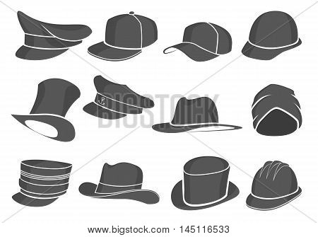 set of gray flat hats military and civilian