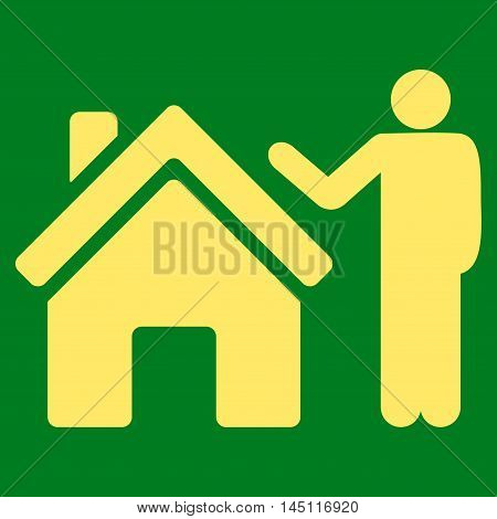Realty Buyer icon. Vector style is flat iconic symbol, yellow color, green background.