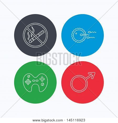 No smoking, family planning and game joystick icons. Male linear sign. Linear icons on colored buttons. Flat web symbols. Vector