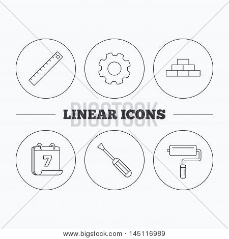 Screwdriver, ruler and paint roller icons. Brickwork linear sign. Flat cogwheel and calendar symbols. Linear icons in circle buttons. Vector