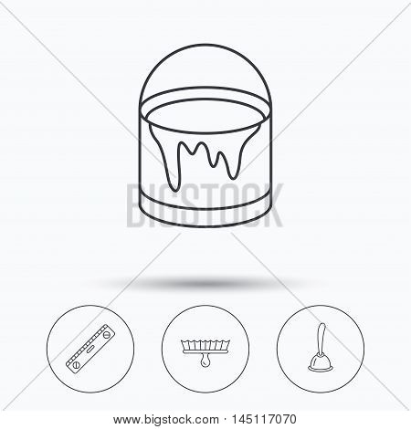 Level tool, plunger and brush tool icons. Bucket of paint linear sign. Linear icons in circle buttons. Flat web symbols. Vector