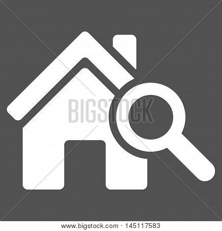 Explore House icon. Vector style is flat iconic symbol, white color, gray background.