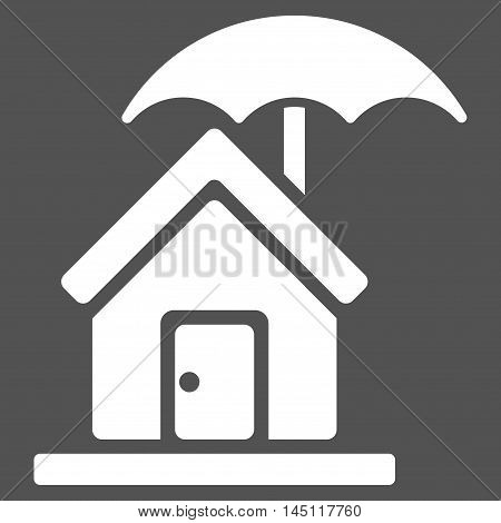 House under Umbrella icon. Vector style is flat iconic symbol, white color, gray background.