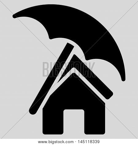 Home under Umbrella icon. Vector style is flat iconic symbol, black color, light gray background.