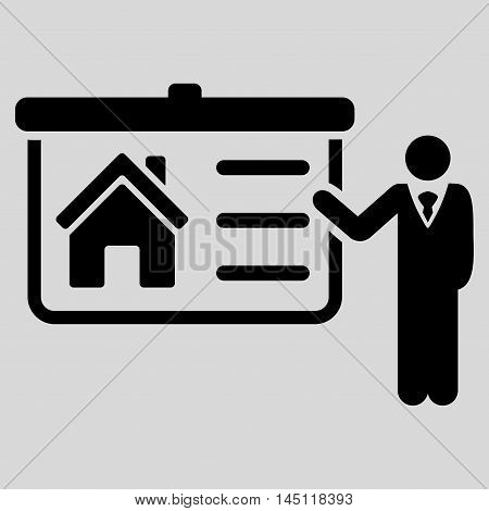 House Presentation icon. Vector style is flat iconic symbol, black color, light gray background.