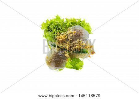 Thai food Tapioca pork (Saku Sai Moo) isolated on white background