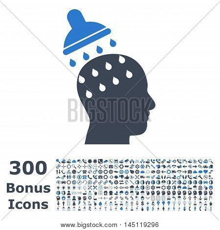Brain Washing icon with 300 bonus icons. Glyph illustration style is flat iconic bicolor symbols, smooth blue colors, white background.