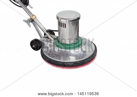 Exterior Black Stone Floor Cleaning With Polishing Machine And Chemical. Isolated On White. Saved Wi