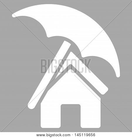Home under Umbrella icon. Vector style is flat iconic symbol, white color, silver background.