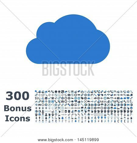Cloud icon with 300 bonus icons. Glyph illustration style is flat iconic bicolor symbols, smooth blue colors, white background.