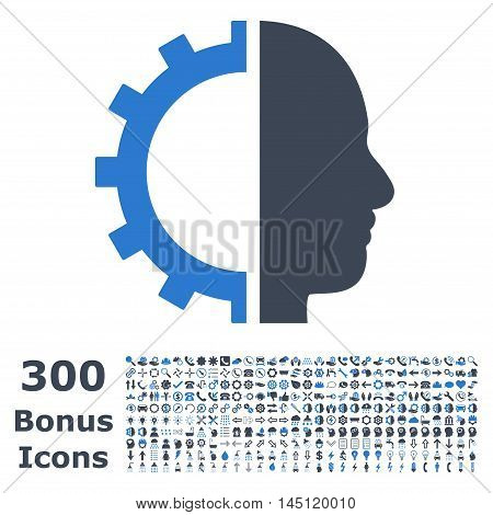 Cyborg Gear icon with 300 bonus icons. Glyph illustration style is flat iconic bicolor symbols, smooth blue colors, white background.