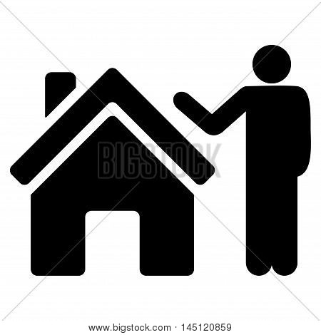 Realty Buyer icon. Vector style is flat iconic symbol, black color, white background.