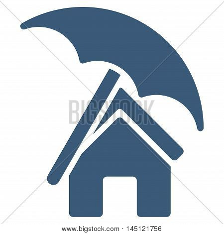 Home under Umbrella icon. Vector style is flat iconic symbol, blue color, white background.