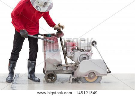 A Worker Cutting Concrete Road With Diamond Saw Blade Machine. Isolated On White. Saved With Clippin
