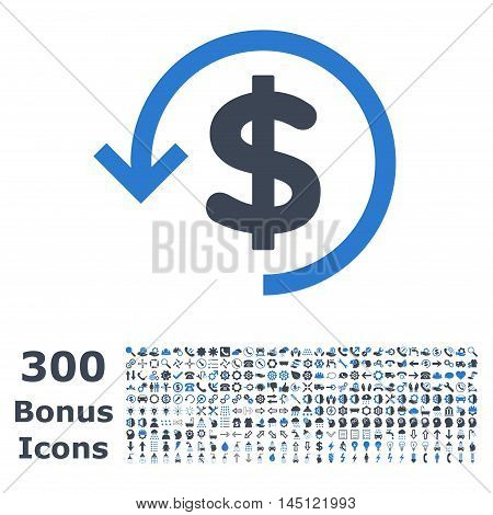 Refund icon with 300 bonus icons. Glyph illustration style is flat iconic bicolor symbols, smooth blue colors, white background.