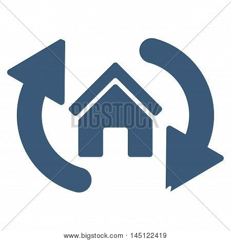 Update House icon. Vector style is flat iconic symbol, blue color, white background.