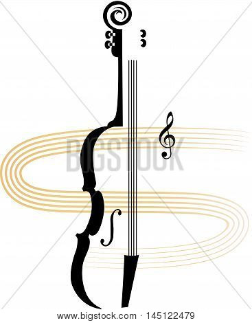 Stylized violin for a performance or violin classes announcement