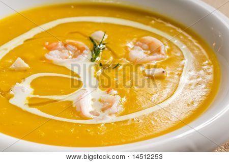 Pumpkin And Shrimps Cream Soup