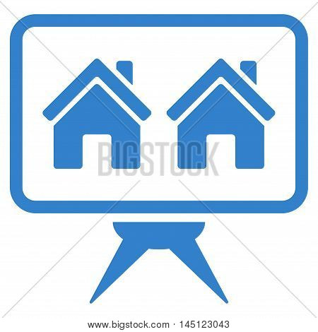Realty Project icon. Vector style is flat iconic symbol, cobalt color, white background.