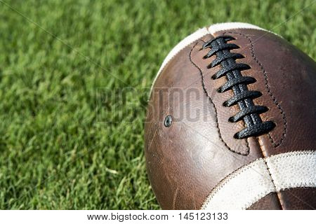 Close up of an old football background