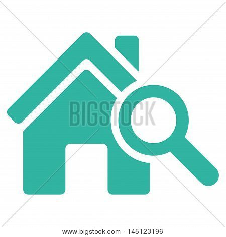 Explore House icon. Vector style is flat iconic symbol, cyan color, white background.