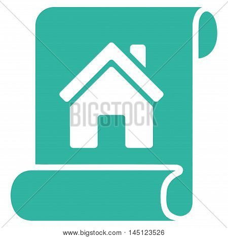 Realty Description Roll icon. Vector style is flat iconic symbol, cyan color, white background.
