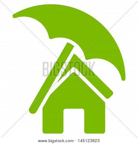 Home under Umbrella icon. Vector style is flat iconic symbol, eco green color, white background.