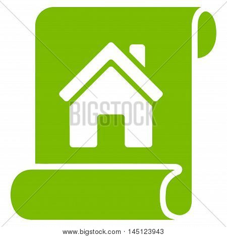 Realty Description Roll icon. Vector style is flat iconic symbol, eco green color, white background.