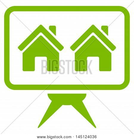 Realty Project icon. Vector style is flat iconic symbol, eco green color, white background.