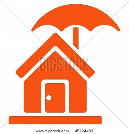 House under Umbrella icon. Vector style is flat iconic symbol, orange color, white background.