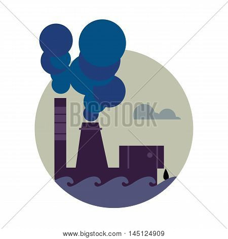 Air pollution banner, vector illustration. Air pollution by smoke coming out of two factory chimneys. Environmental problems. Smoking factory concept. Heavy industry plant. Smokestack icon