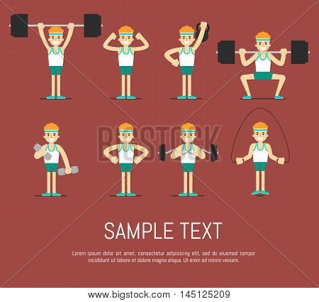 Athletic young man with barbell, dumbbells, weight and skipping rope doing exercises, vector illustration set in flat style. Healthy lifestyle. Fitness people. Workout and gymnastics.