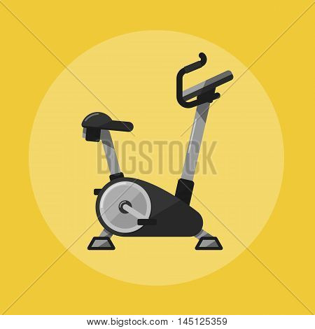 Vector illustration of gym sports equipment icon. Exercise bike isolated on yellow background. Active sport lifestyle. Stationary training bicycle good for exercise at home or gym