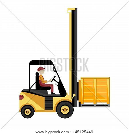 Forklift truck with boxes on pallet isolated on white background vector illustration