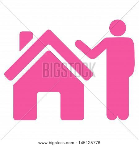 Realty Buyer icon. Vector style is flat iconic symbol, pink color, white background.