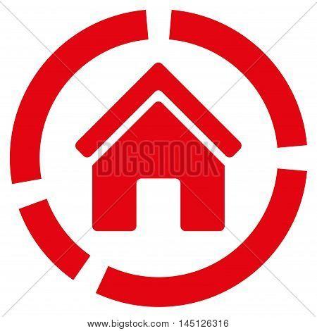 Realty Diagram icon. Vector style is flat iconic symbol, red color, white background.