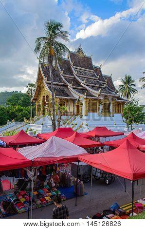 Vientiane Laos- June 20 2014:Night Market under the Wat Xieng Thong Luang Prabang