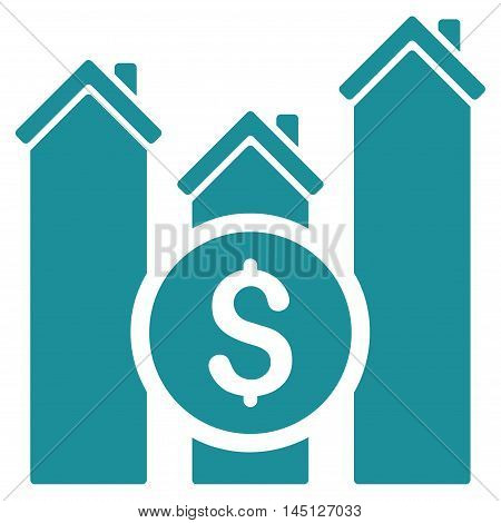Realty Price Charts icon. Vector style is flat iconic symbol, soft blue color, white background.